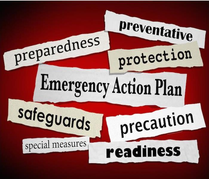 Photo is showing random words relating to emergency strategies. Such as, preparedness, preventative, readiness, etc.